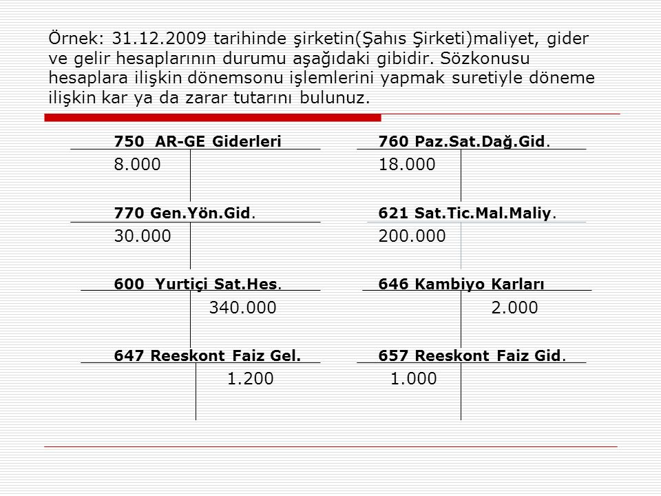 Örnek: 31.12.2009 tarihinde şirketin(Şahıs Şirketi)maliyet, gider ve gelir hesaplarının durumu aşağıdaki gibidir. Sözkonusu hesaplara ilişkin dönemsonu işlemlerini yapmak suretiyle döneme ilişkin kar ya da zarar tutarını bulunuz.