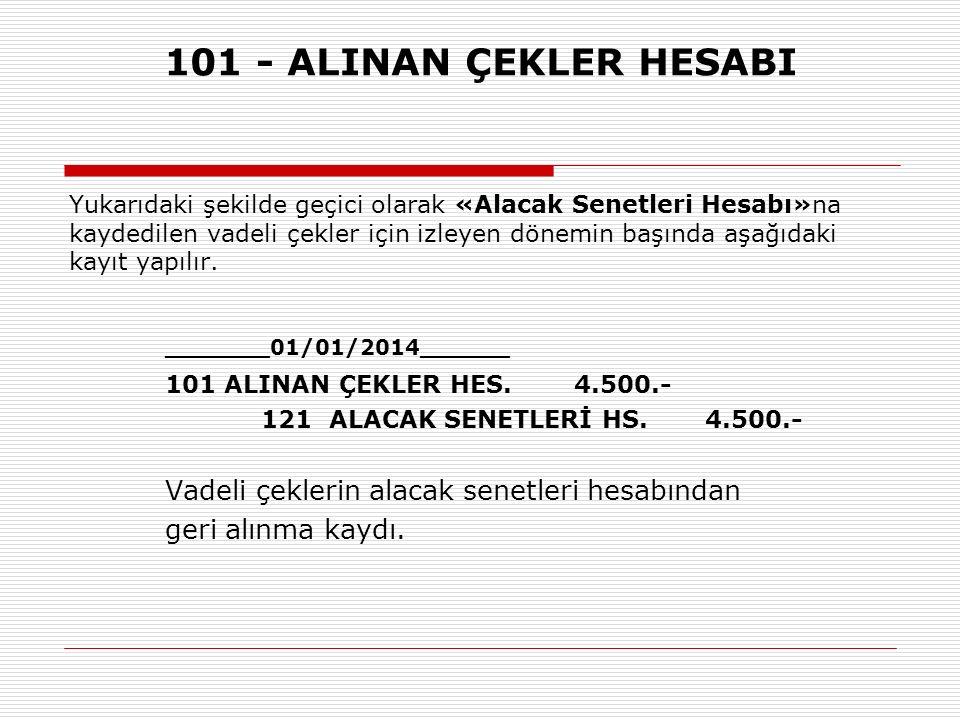 101 - ALINAN ÇEKLER HESABI 101 ALINAN ÇEKLER HES. 4.500.-