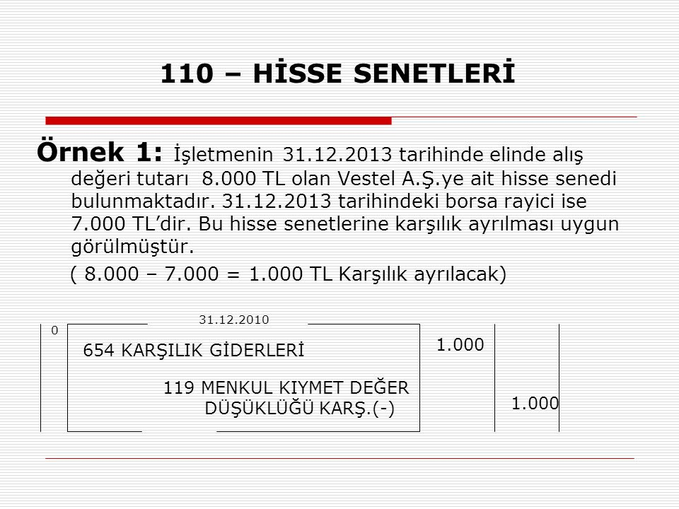 110 – HİSSE SENETLERİ