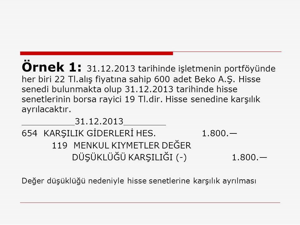 Örnek 1: 31. 12. 2013 tarihinde işletmenin portföyünde her biri 22 Tl