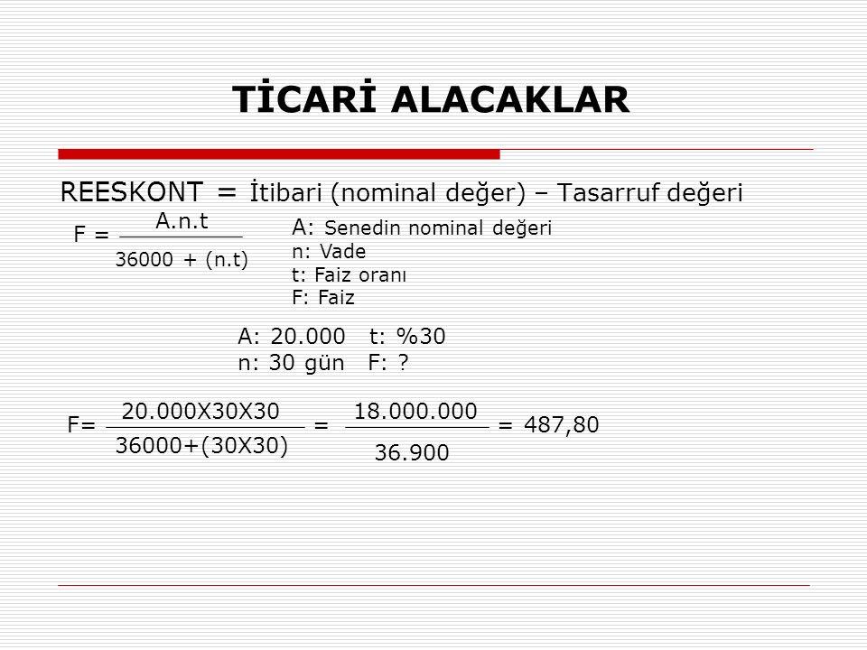 TİCARİ ALACAKLAR REESKONT = İtibari (nominal değer) – Tasarruf değeri