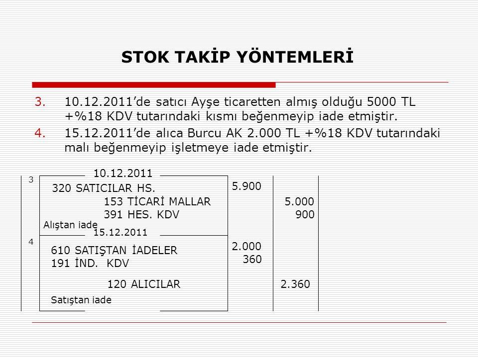 STOK TAKİP YÖNTEMLERİ 10.12.2011'de satıcı Ayşe ticaretten almış olduğu 5000 TL +%18 KDV tutarındaki kısmı beğenmeyip iade etmiştir.