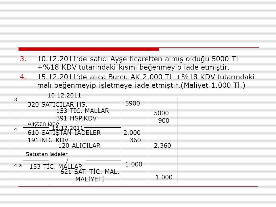 10.12.2011'de satıcı Ayşe ticaretten almış olduğu 5000 TL +%18 KDV tutarındaki kısmı beğenmeyip iade etmiştir.