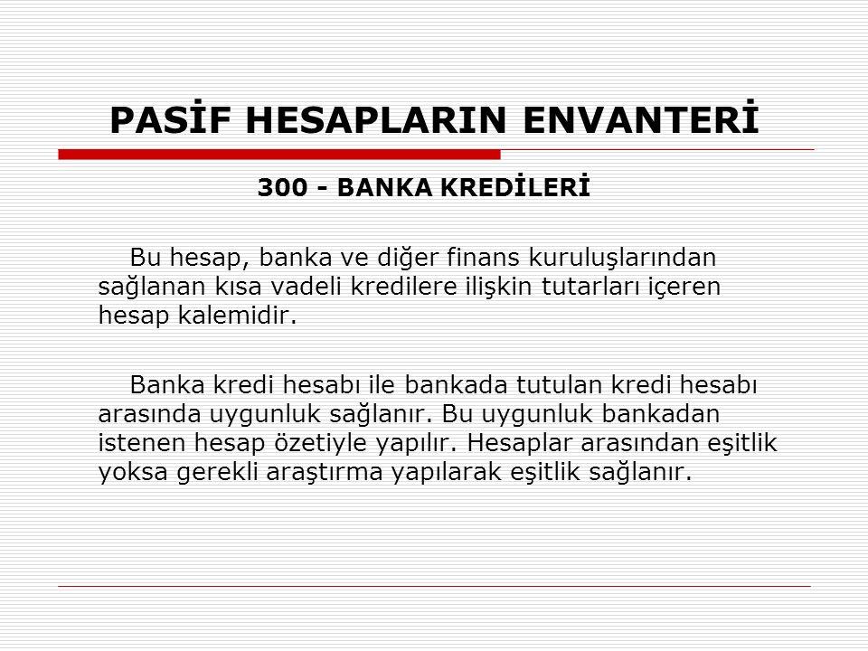 PASİF HESAPLARIN ENVANTERİ