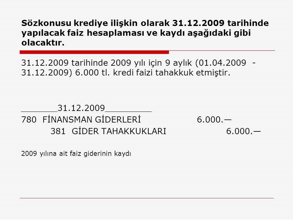 Sözkonusu krediye ilişkin olarak 31. 12