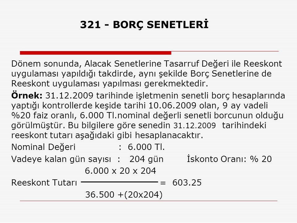 321 - BORÇ SENETLERİ
