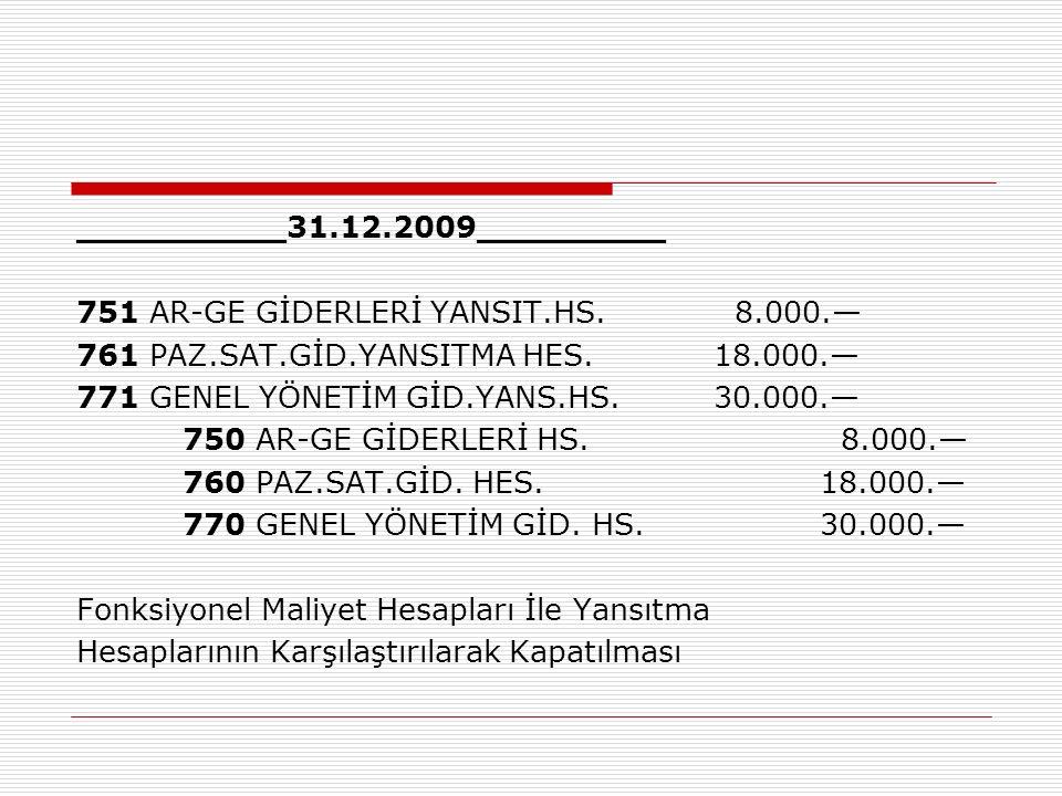 __________31. 12. 2009_________ 751 AR-GE GİDERLERİ YANSIT. HS. 8. 000