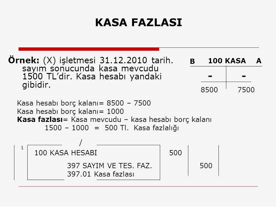 KASA FAZLASI Örnek: (X) işletmesi 31.12.2010 tarih. sayım sonucunda kasa mevcudu 1500 TL'dir. Kasa hesabı yandaki gibidir.