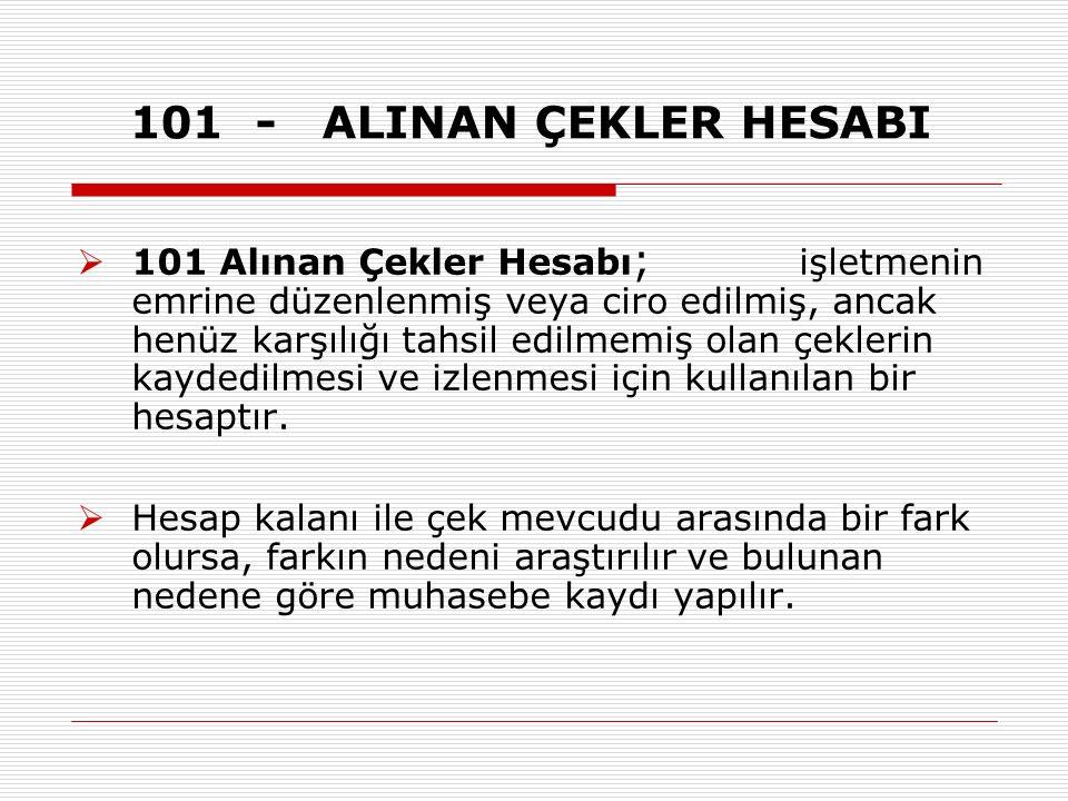 101 - ALINAN ÇEKLER HESABI