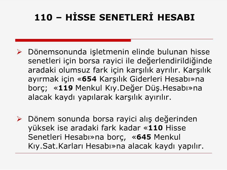 110 – HİSSE SENETLERİ HESABI