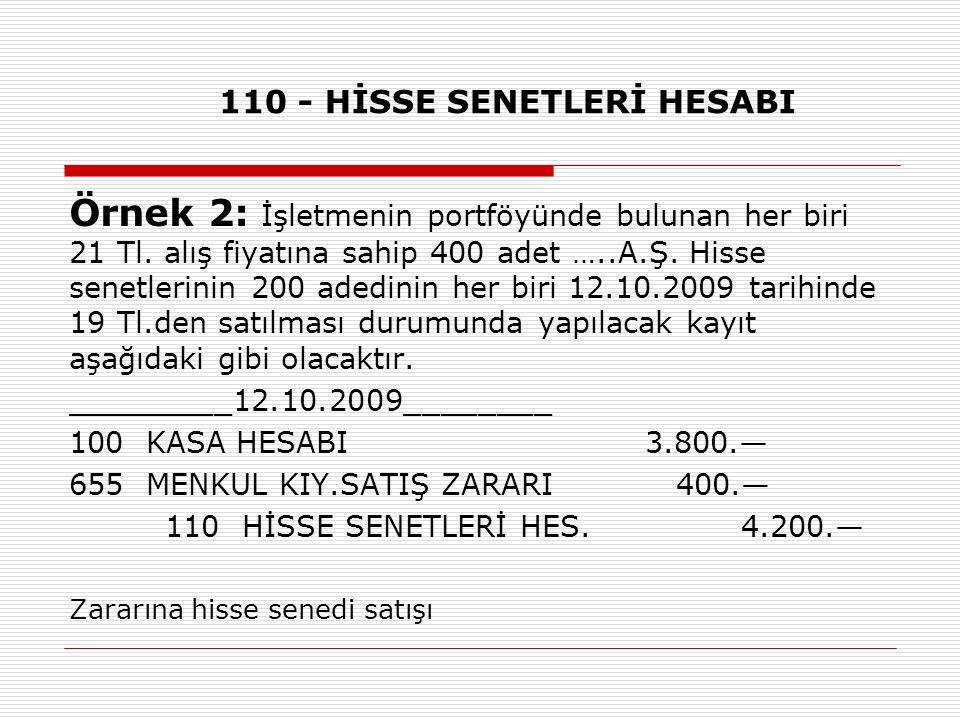 110 - HİSSE SENETLERİ HESABI