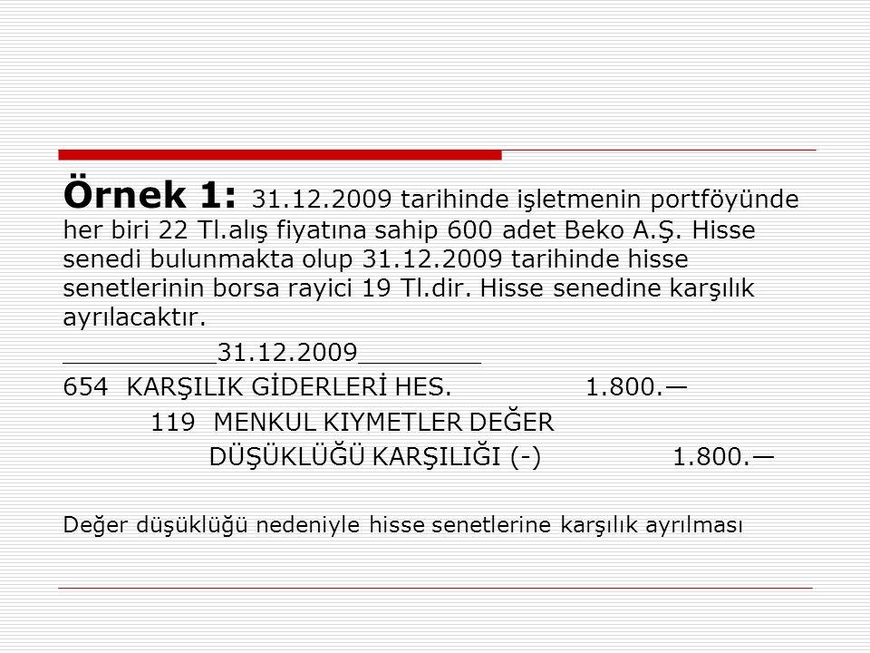 Örnek 1: 31. 12. 2009 tarihinde işletmenin portföyünde her biri 22 Tl