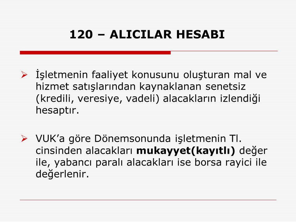 120 – ALICILAR HESABI