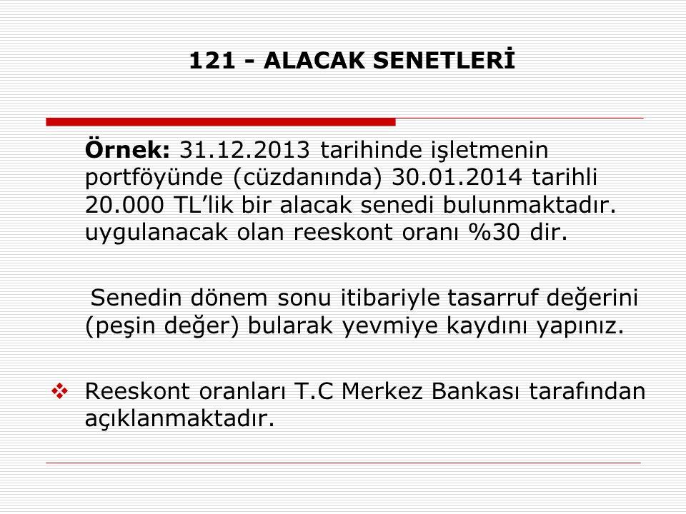 121 - ALACAK SENETLERİ
