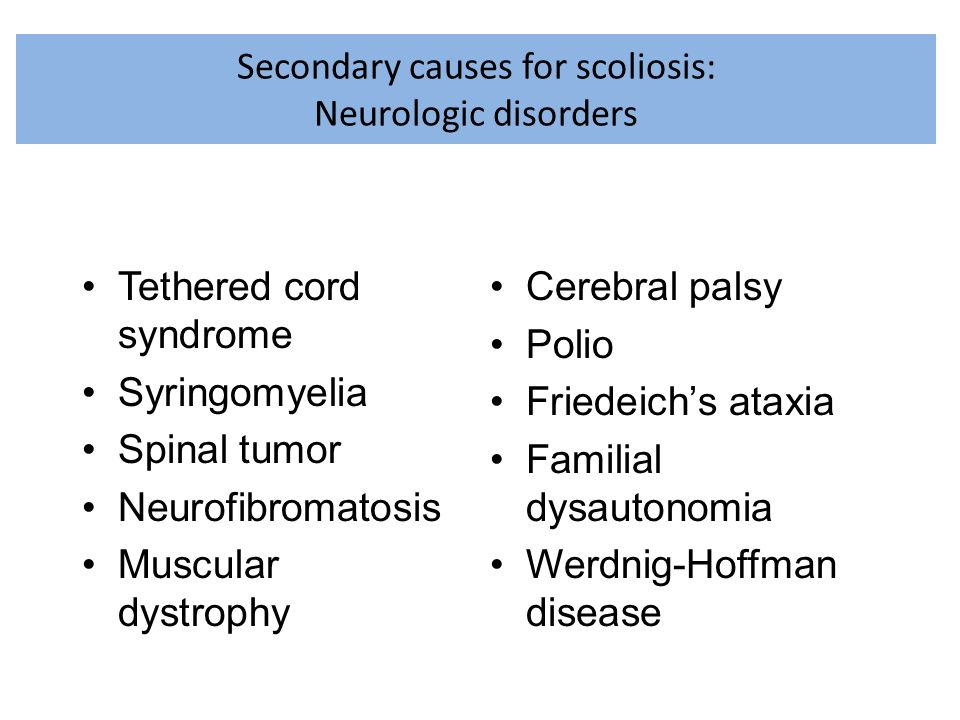 Secondary causes for scoliosis: Neurologic disorders