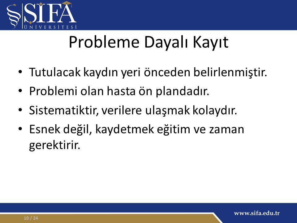 Probleme Dayalı Kayıt Tutulacak kaydın yeri önceden belirlenmiştir.