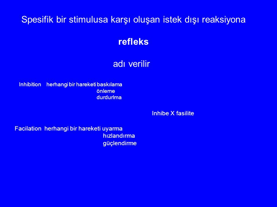 Spesifik bir stimulusa karşı oluşan istek dışı reaksiyona refleks