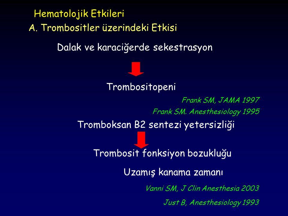 Hematolojik Etkileri Trombositopeni A. Trombositler üzerindeki Etkisi