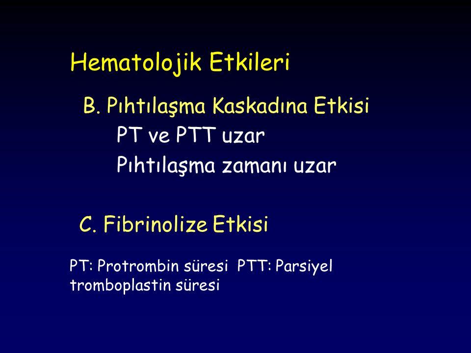 Hematolojik Etkileri B. Pıhtılaşma Kaskadına Etkisi PT ve PTT uzar