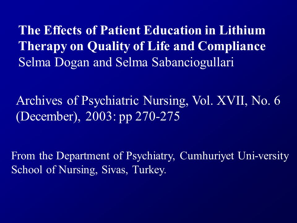 The Effects of Patient Education in Lithium