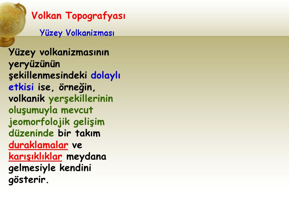 Volkan Topografyası Yüzey Volkanizması.
