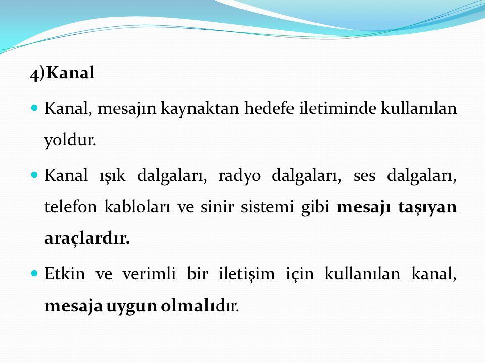4)Kanal Kanal, mesajın kaynaktan hedefe iletiminde kullanılan yoldur.