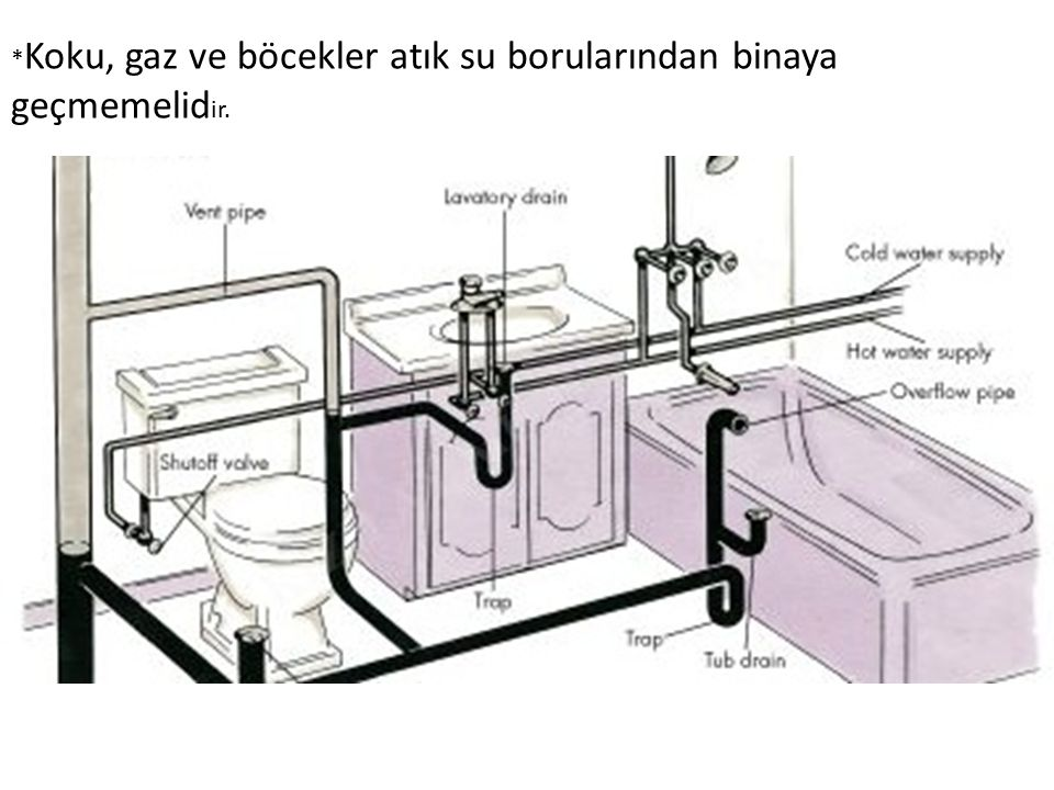 *Koku, gaz ve böcekler atık su borularından binaya geçmemelidir.