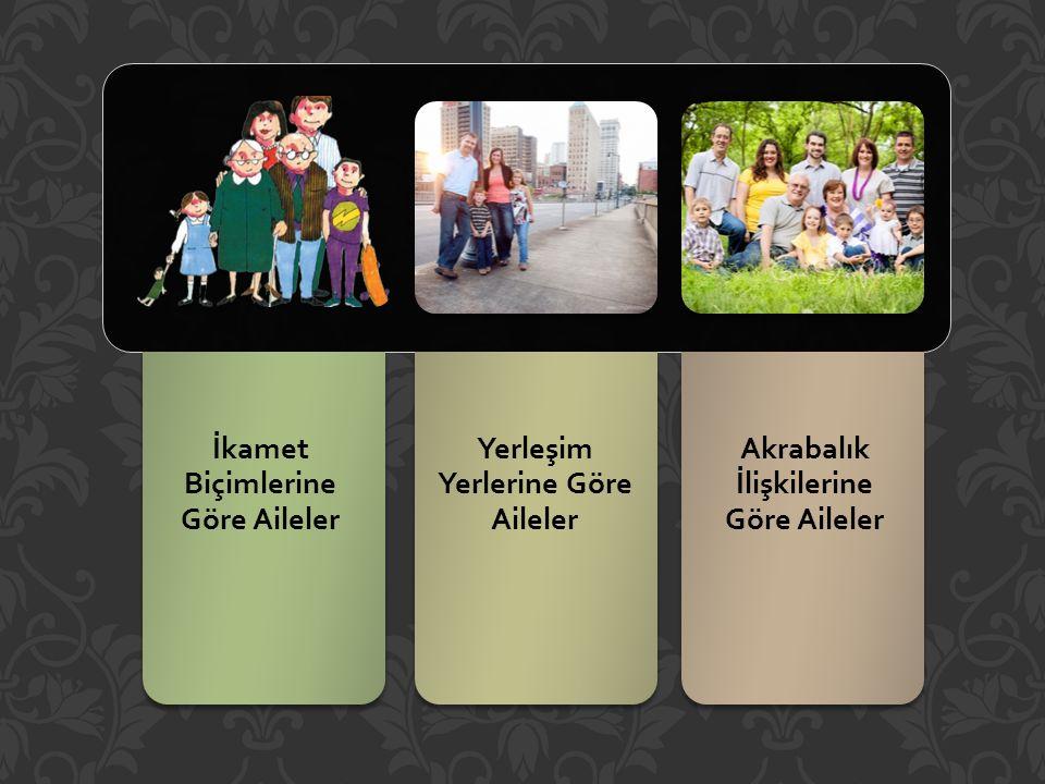 İkamet Biçimlerine Göre Aileler Yerleşim Yerlerine Göre Aileler