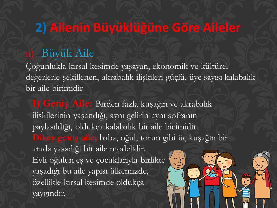 2) Ailenin Büyüklüğüne Göre Aileler