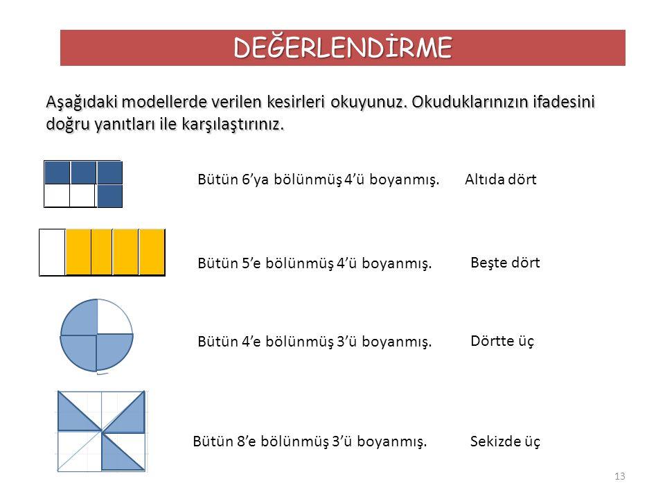 DEĞERLENDİRME Aşağıdaki modellerde verilen kesirleri okuyunuz. Okuduklarınızın ifadesini doğru yanıtları ile karşılaştırınız.