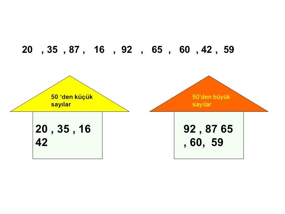 20 , 35 , 87 , 16 , 92 , 65 , 60 , 42 , 59 50 'den küçük sayılar. 50'den büyük sayılar.