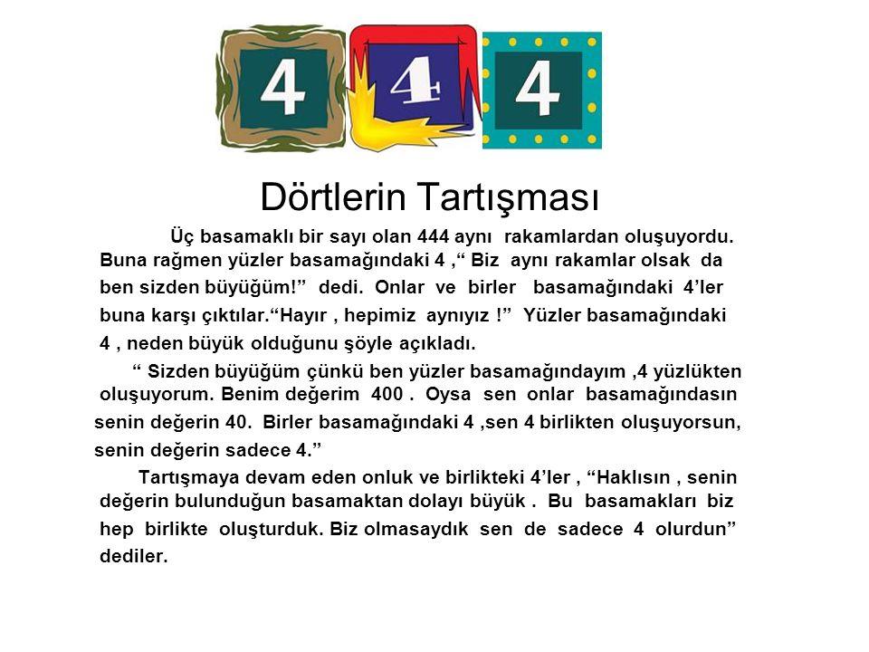 Dörtlerin Tartışması Üç basamaklı bir sayı olan 444 aynı rakamlardan oluşuyordu. Buna rağmen yüzler basamağındaki 4 , Biz aynı rakamlar olsak da.