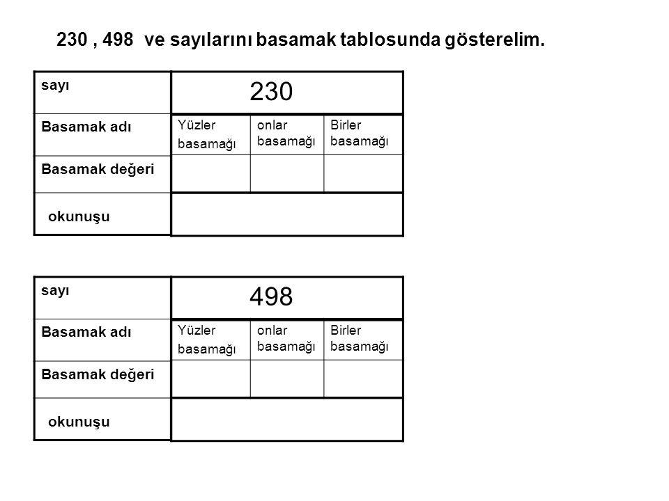 230 , 498 ve sayılarını basamak tablosunda gösterelim.