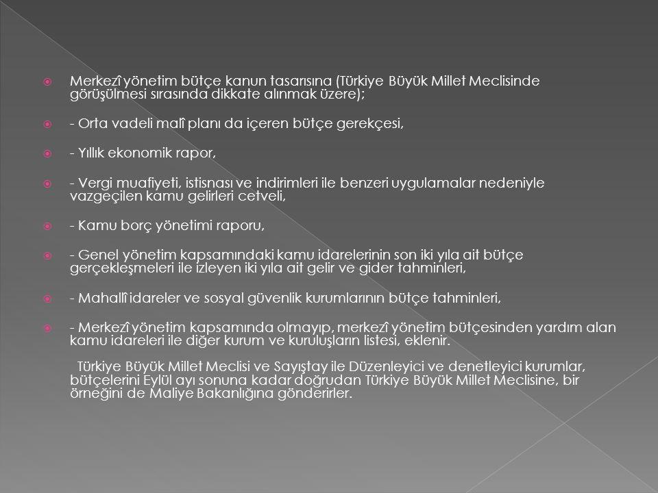 Merkezî yönetim bütçe kanun tasarısına (Türkiye Büyük Millet Meclisinde görüşülmesi sırasında dikkate alınmak üzere);