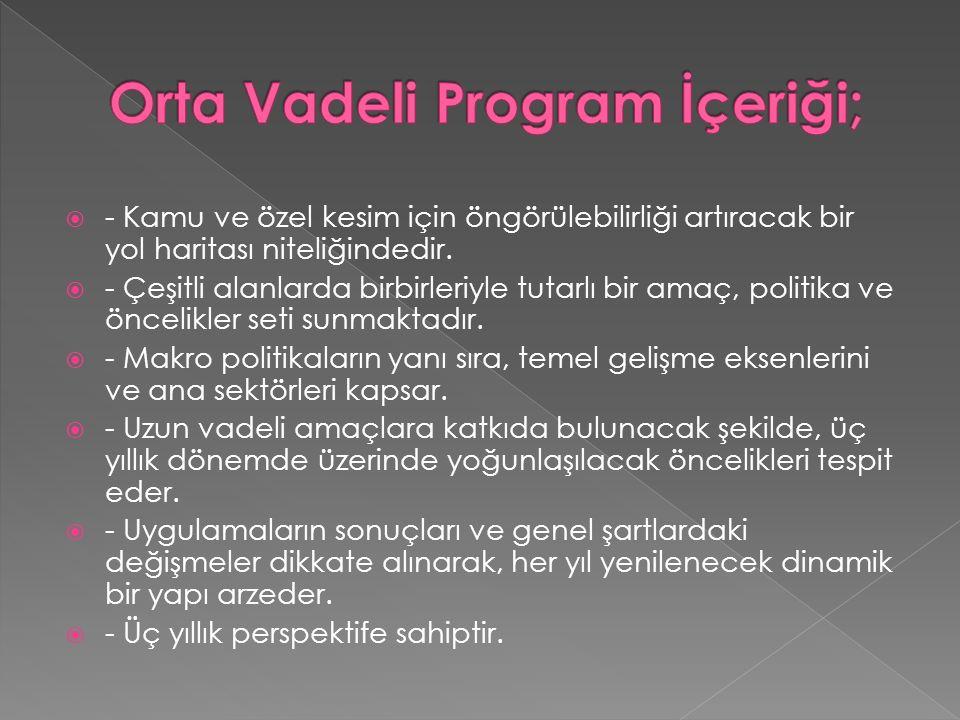 Orta Vadeli Program İçeriği;