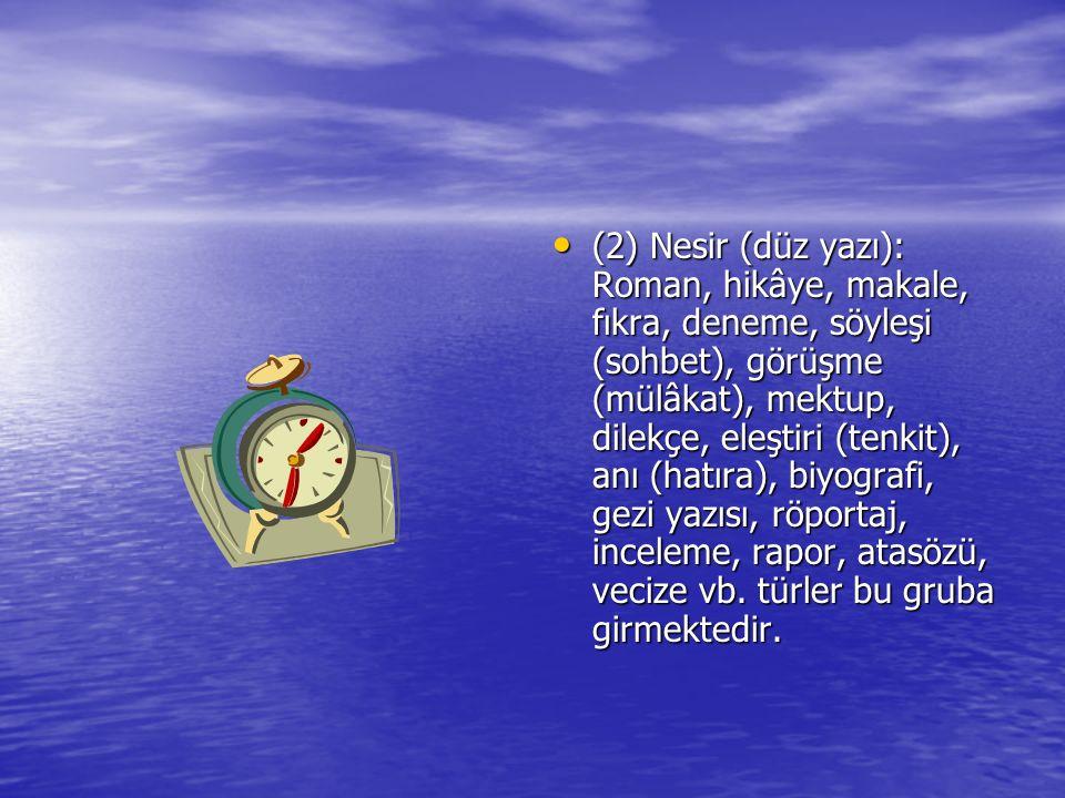 (2) Nesir (düz yazı): Roman, hikâye, makale, fıkra, deneme, söyleşi (sohbet), görüşme (mülâkat), mektup, dilekçe, eleştiri (tenkit), anı (hatıra), biyografi, gezi yazısı, röportaj, inceleme, rapor, atasözü, vecize vb.