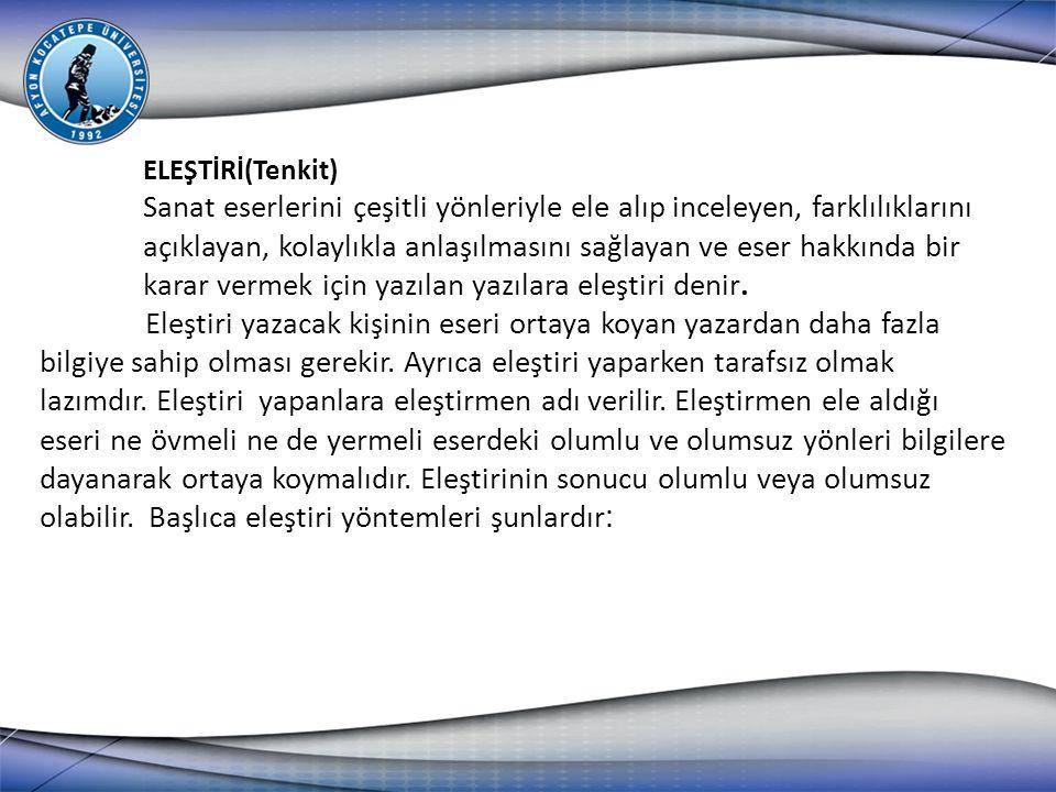 ELEŞTİRİ(Tenkit)