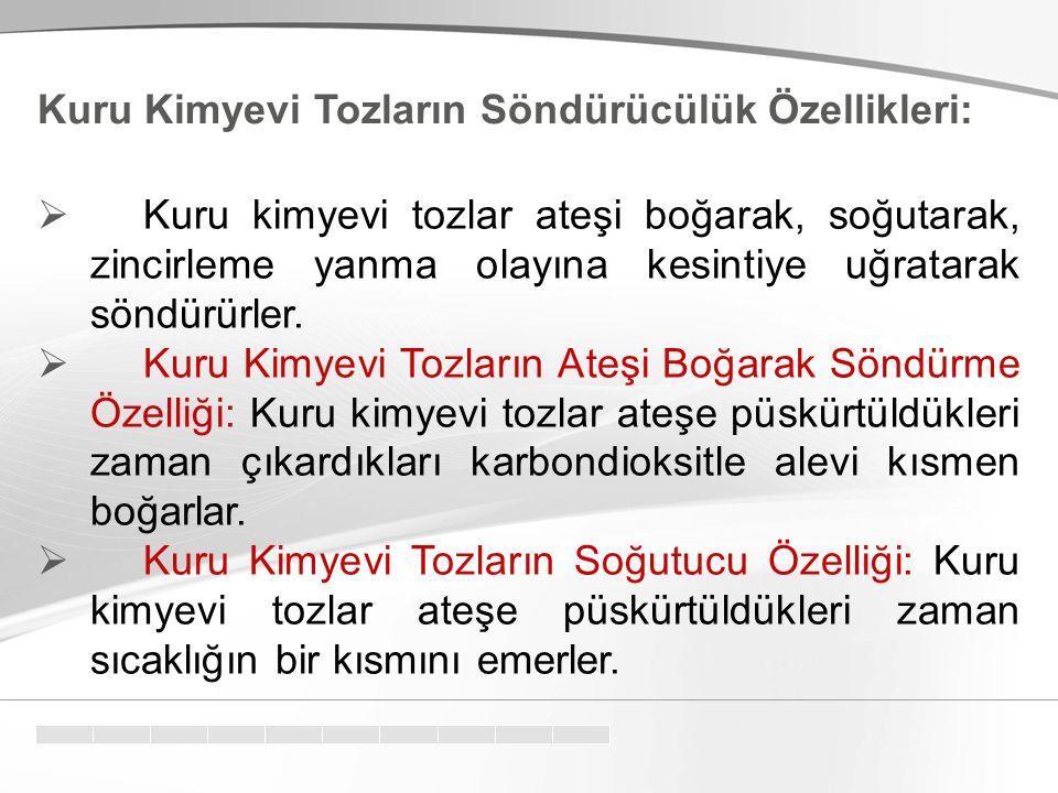Kuru Kimyevi Tozların Söndürücülük Özellikleri: