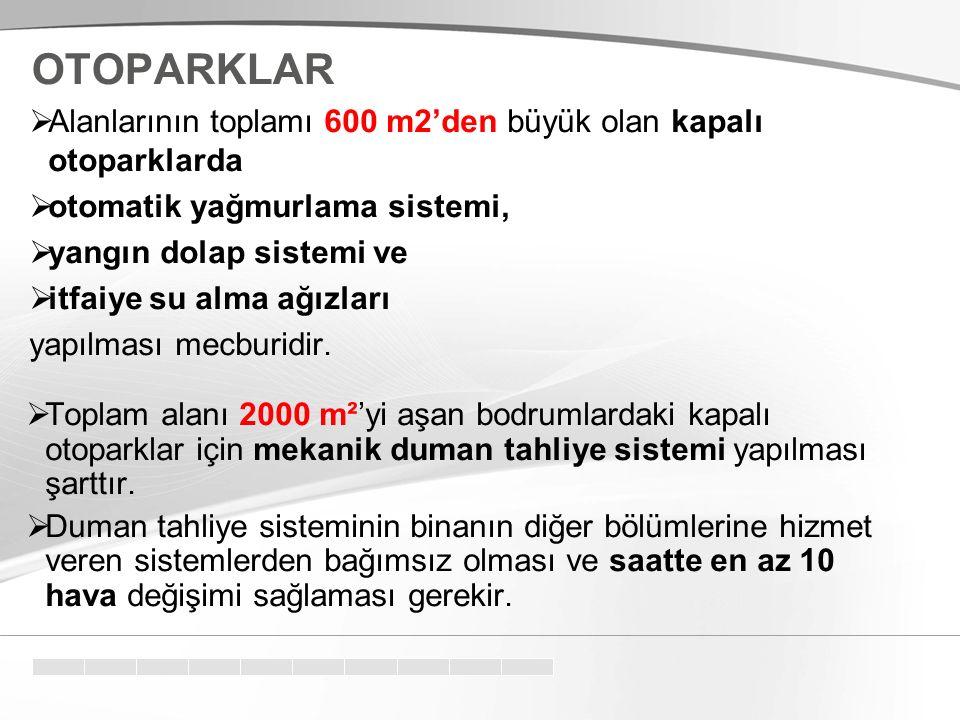 OTOPARKLAR Alanlarının toplamı 600 m2'den büyük olan kapalı otoparklarda. otomatik yağmurlama sistemi,