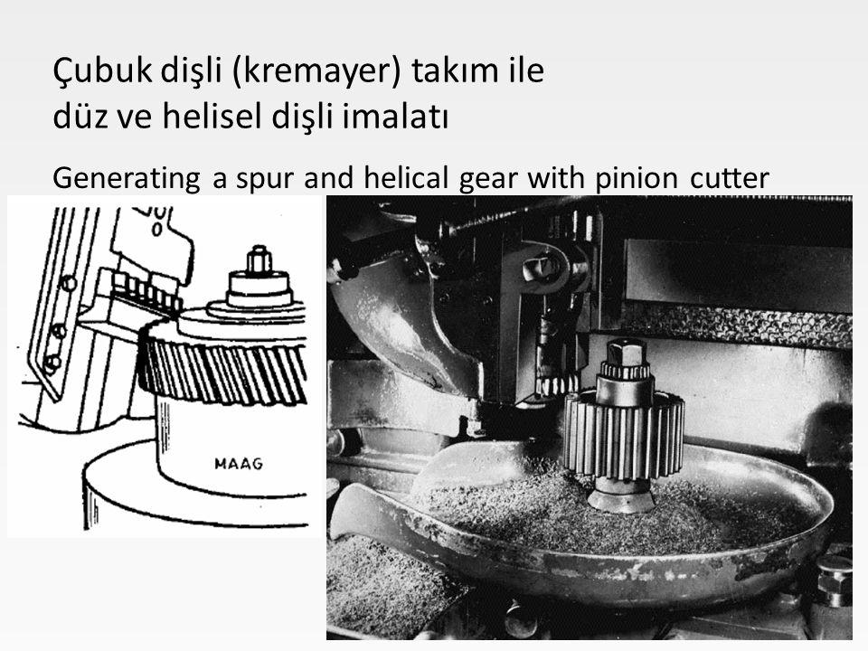 Çubuk dişli (kremayer) takım ile düz ve helisel dişli imalatı