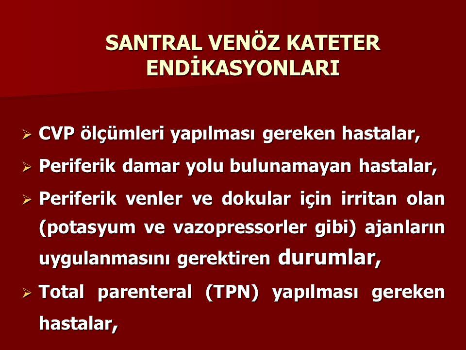 SANTRAL VENÖZ KATETER ENDİKASYONLARI