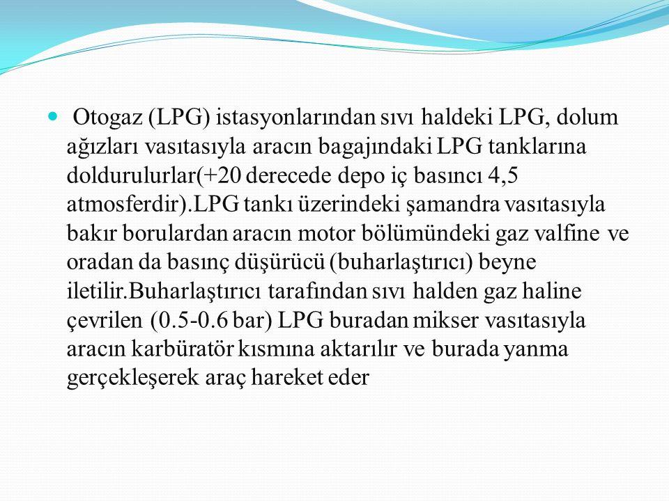 Otogaz (LPG) istasyonlarından sıvı haldeki LPG, dolum ağızları vasıtasıyla aracın bagajındaki LPG tanklarına doldurulurlar(+20 derecede depo iç basıncı 4,5 atmosferdir).LPG tankı üzerindeki şamandra vasıtasıyla bakır borulardan aracın motor bölümündeki gaz valfine ve oradan da basınç düşürücü (buharlaştırıcı) beyne iletilir.Buharlaştırıcı tarafından sıvı halden gaz haline çevrilen (0.5-0.6 bar) LPG buradan mikser vasıtasıyla aracın karbüratör kısmına aktarılır ve burada yanma gerçekleşerek araç hareket eder