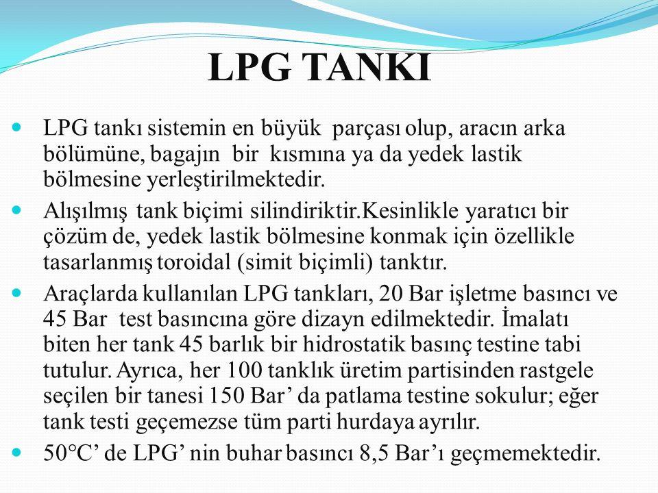 LPG TANKI LPG tankı sistemin en büyük parçası olup, aracın arka bölümüne, bagajın bir kısmına ya da yedek lastik bölmesine yerleştirilmektedir.