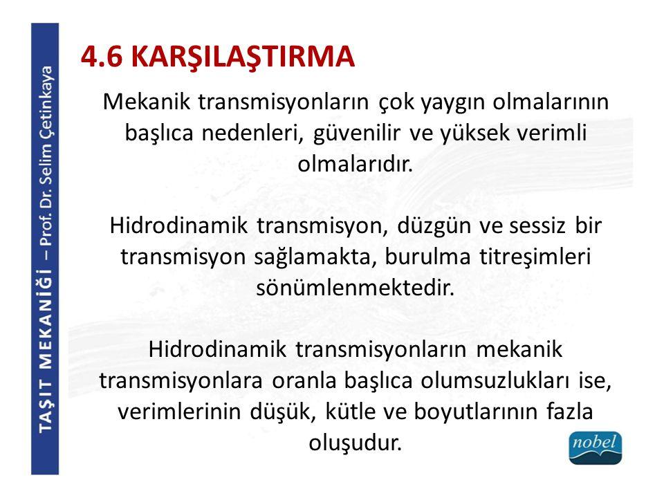 4.6 KARŞILAŞTIRMA Mekanik transmisyonların çok yaygın olmalarının başlıca nedenleri, güvenilir ve yüksek verimli olmalarıdır.