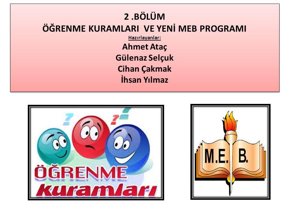 2 .BÖLÜM ÖĞRENME KURAMLARI VE YENİ MEB PROGRAMI Hazırlayanlar: Ahmet Ataç Gülenaz Selçuk Cihan Çakmak İhsan Yılmaz
