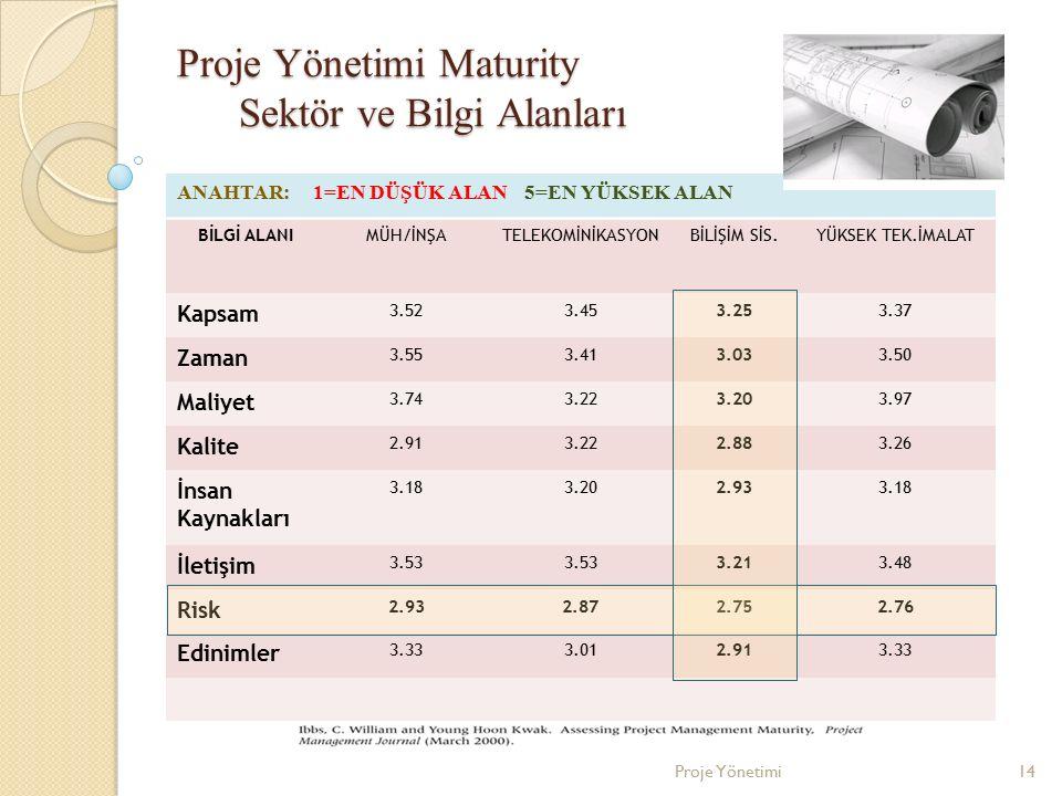 Proje Yönetimi Maturity Sektör ve Bilgi Alanları