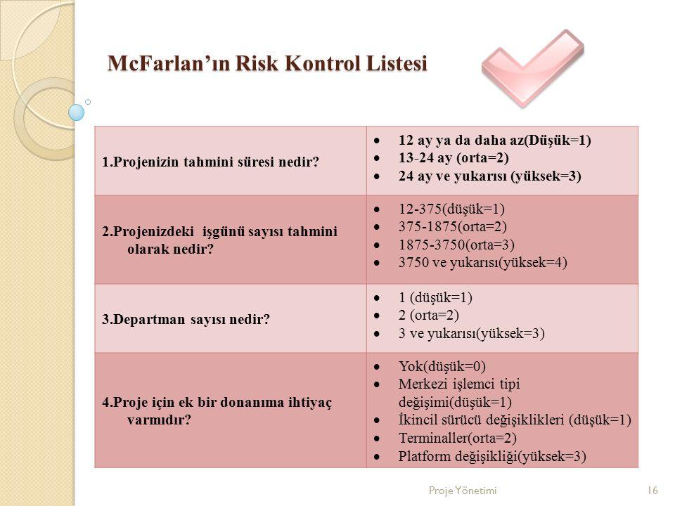 McFarlan'ın Risk Kontrol Listesi