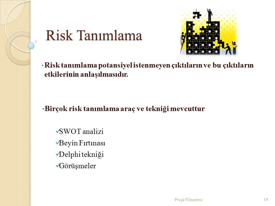 Risk Tanımlama Risk tanımlama potansiyel istenmeyen çıktıların ve bu çıktıların etkilerinin anlaşılmasıdır.