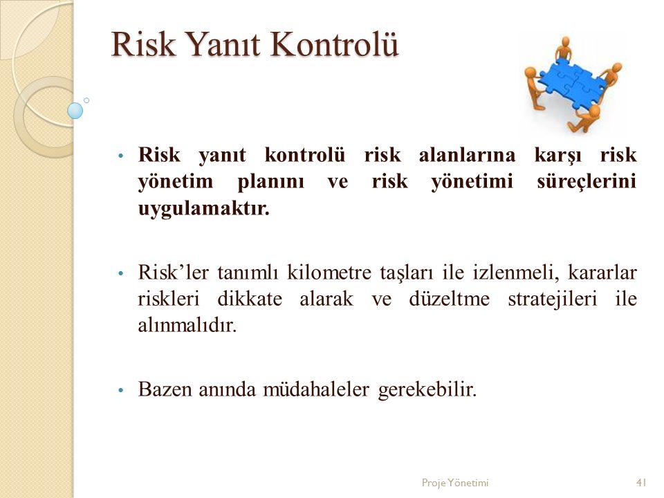 Risk Yanıt Kontrolü Risk yanıt kontrolü risk alanlarına karşı risk yönetim planını ve risk yönetimi süreçlerini uygulamaktır.