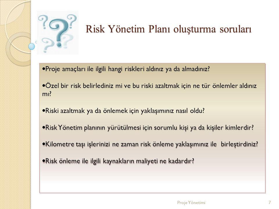 Risk Yönetim Planı oluşturma soruları